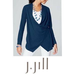 NWT J.Jill indigo Ocean wash wrap cardian XL